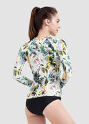 Coconut Palm Long Sleeve Zip UPF 50 Rash Guard