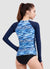 Long Sleeve Zip Rash Guard — Marbling