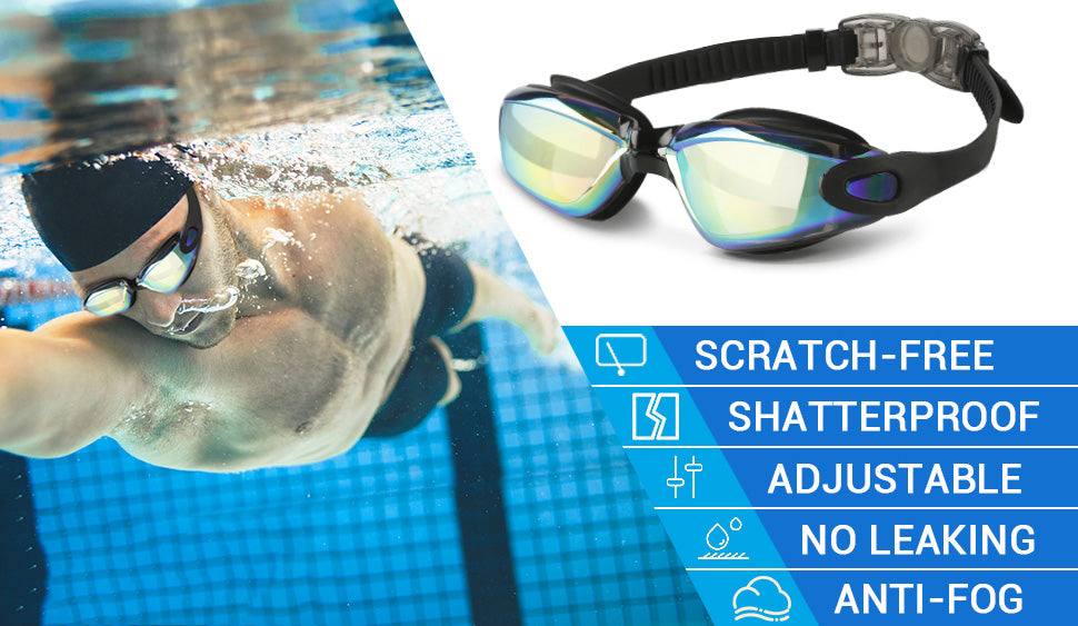 Swimming Goggles with Ear Plugs Anti Fog UV Protection