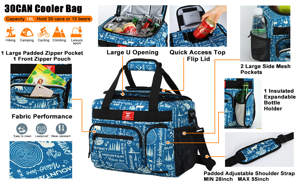 Leakproof Insulated Cooler Lunch Bag 30can