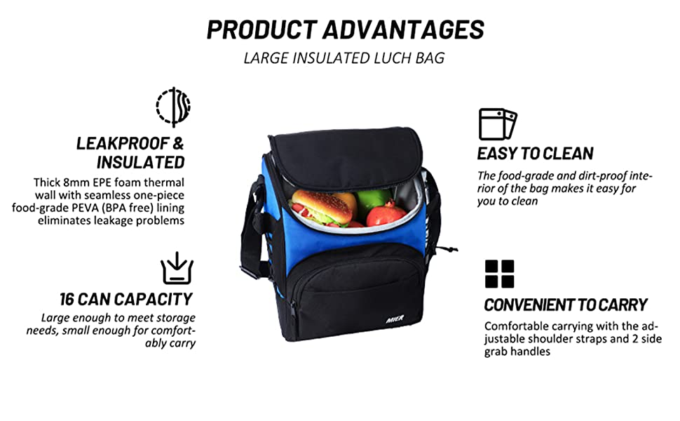 Large Insulated Cooler 16 Can Lunch Box Bag