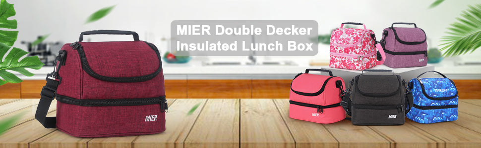 MIER 2 Compartment Small Lunch Bag