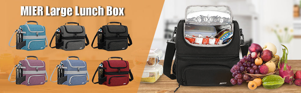 MIER Dual Compartment Lunch Bag Tote (1)
