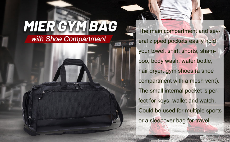 MIER Gym Bag with Shoe Compartment