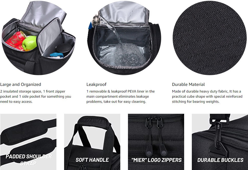 Large Insulated Soft Cooler Lunch Bag