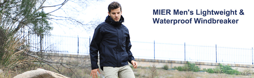 MIER Men's Lightweight Waterproof Rain Jacket