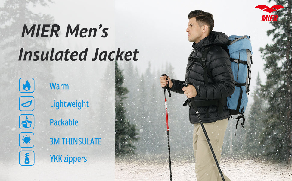 MIER Men's Packable Hooded Puffer Jacket