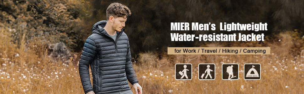 MIER Men's Packable Hooded Pullover Insulated Jacket