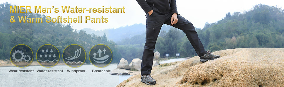 MIER Men's Water Resistant Softshell Cargo Pants