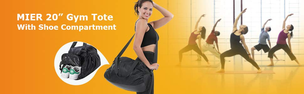 MIER Women's Gym Bag with Shoe Compartment