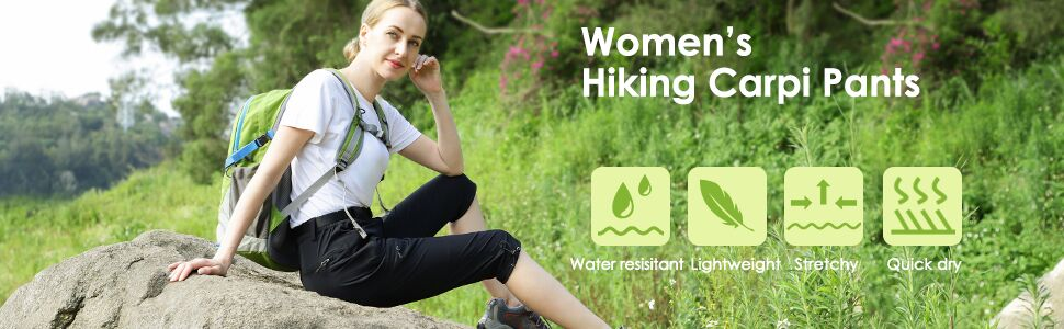 MIER Women's Hiking Capri Pants