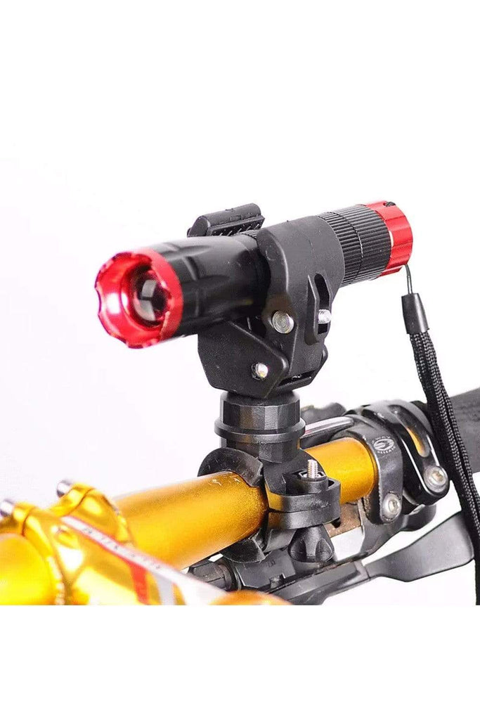 360-degree Rotating Bike Bicycle Light Holder,   Mountain Bike Lamp Clip Holder Grip Bracket Cycling Black MIER