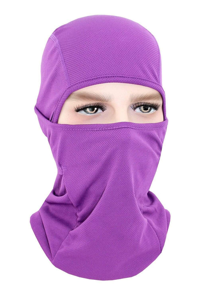 Balaclava Face Cover UV Protection Ski Mask Cycling Hat Purple MIER