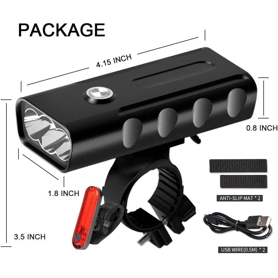 Bicycle Headlight USB Rechargeable Built-in Battery Bike Light Bike Light MIERSPORTS