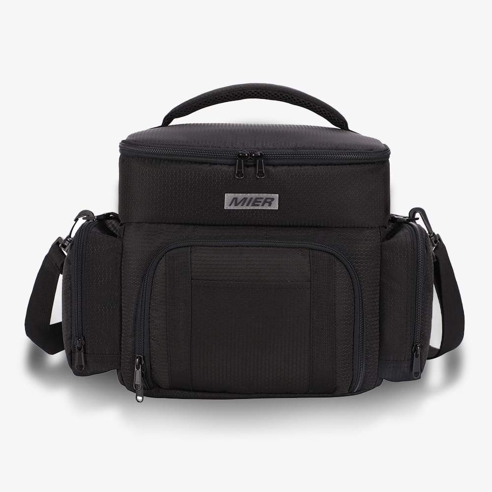 Dual Compartment Lunch Bag for Men, Women Lunch Bag Black MIER