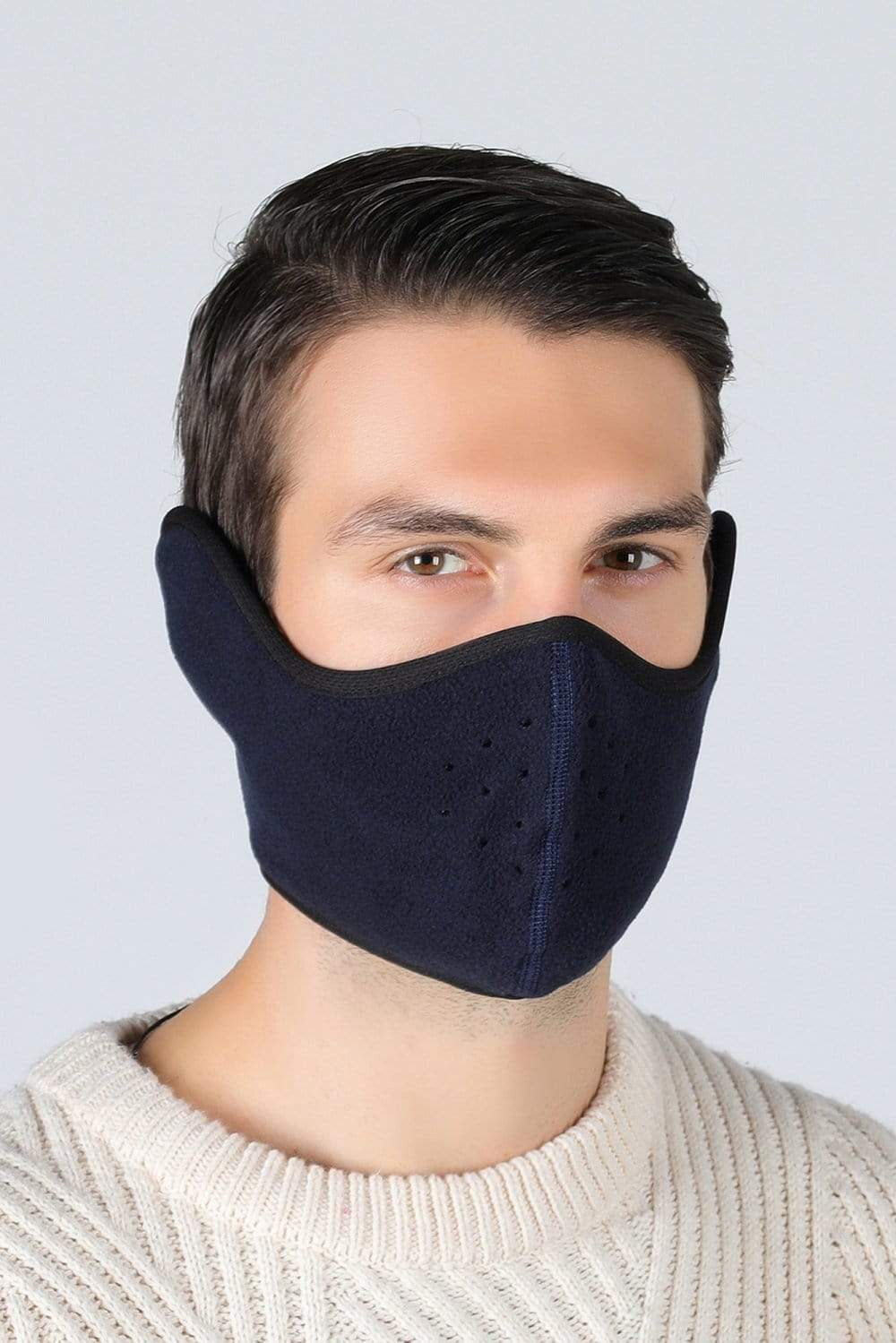 Earflap Half Face Cover Cycling Outdoor Activity Mask Cycling Navy Blue MIER