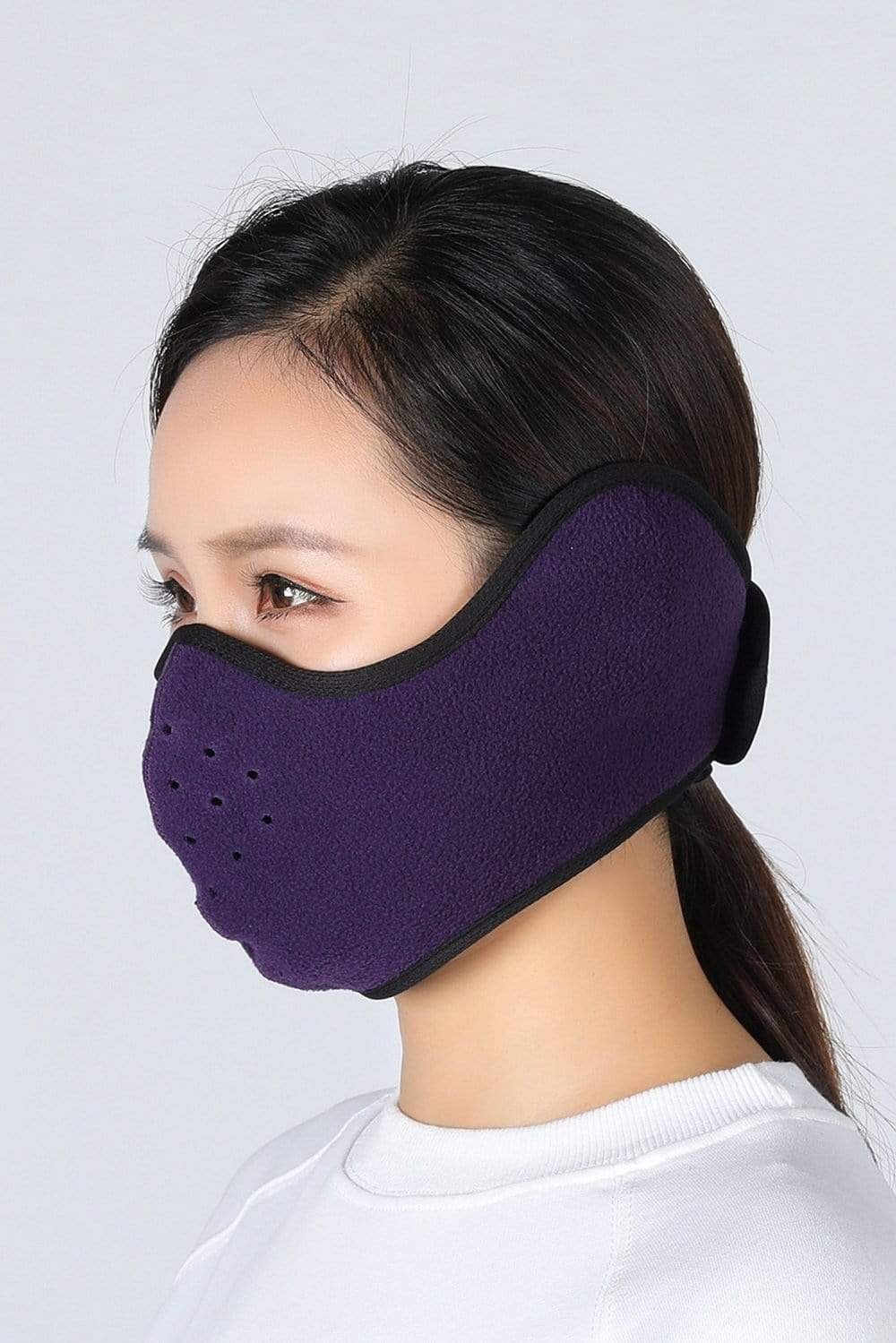 Earflap Half Face Cover Cycling Outdoor Activity Mask Cycling Purple MIER