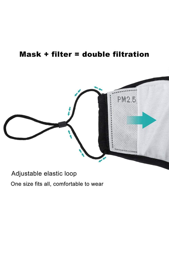 GFA 3 Packs Washable Cotton Mask with Filter Pocket 4 Layers Reusable face mask mouth cover, Adjustable earloops, Black Auto Black MIER
