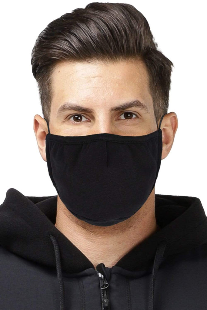 GFA Reusable Cotton Face Mask Unisex 3 Ply Cloth Mask with Adjustable Earloop, Washable and Breathable, Black, 3 Pack Auto Black MIER