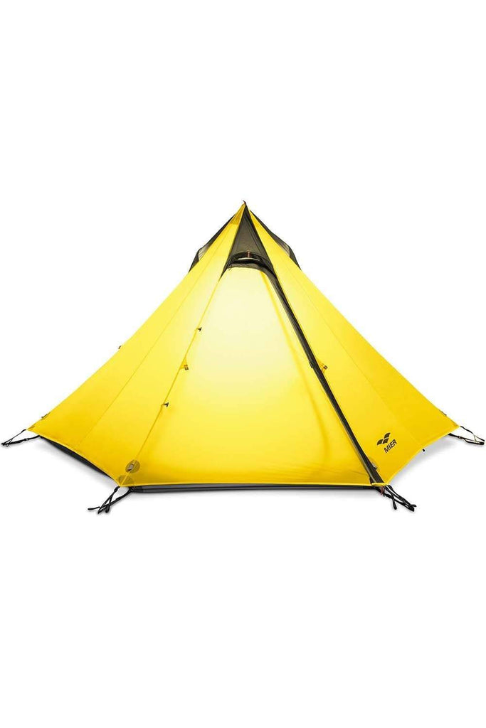 MIER 2-3 Person Ultralight Outdoor Camping Tent Waterproof Backpacking Pyramid Tent, 3 Season tent Yellow MIER