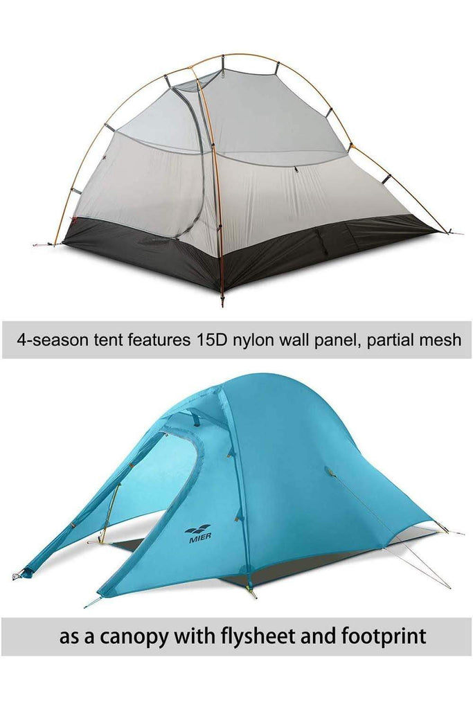 MIER 2 Person Camping Tent with Footprint Waterproof Backpacking Tent, 3 Seasons and 4 Seasons tent MIER