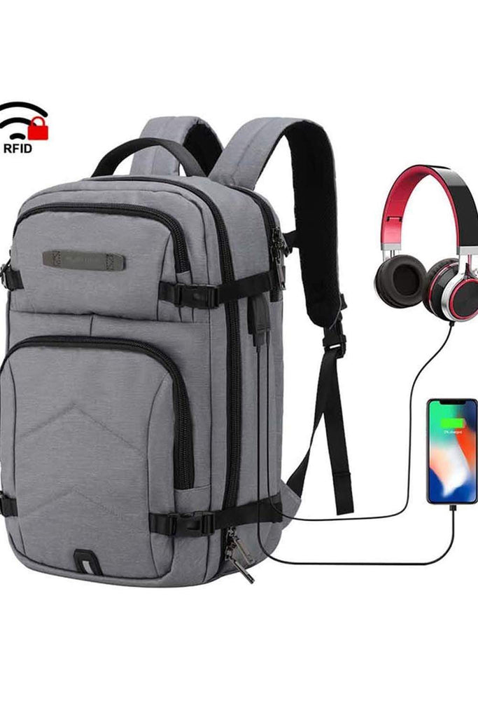 MIER Anti Theft Carry On Bag 17 Inches Laptop Backpack for Travel School Business Backpack Bag Grey MIER