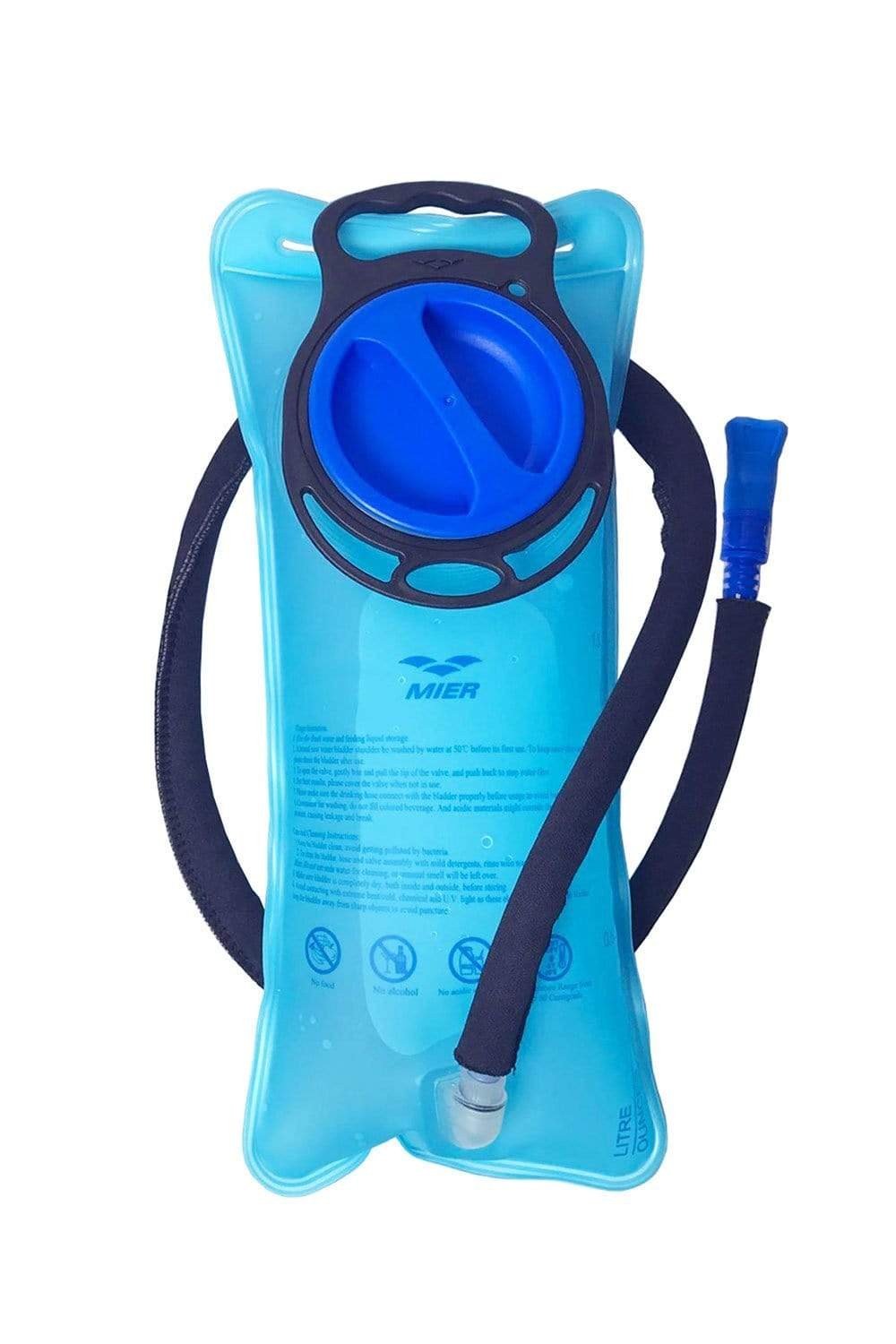 MIER Hydration Bladder 2L Water Reservoir for Running, Biking, Camping, Hiking, Cycling, Insulated Tube, Large Opening Water bag Blue / 2L MIER