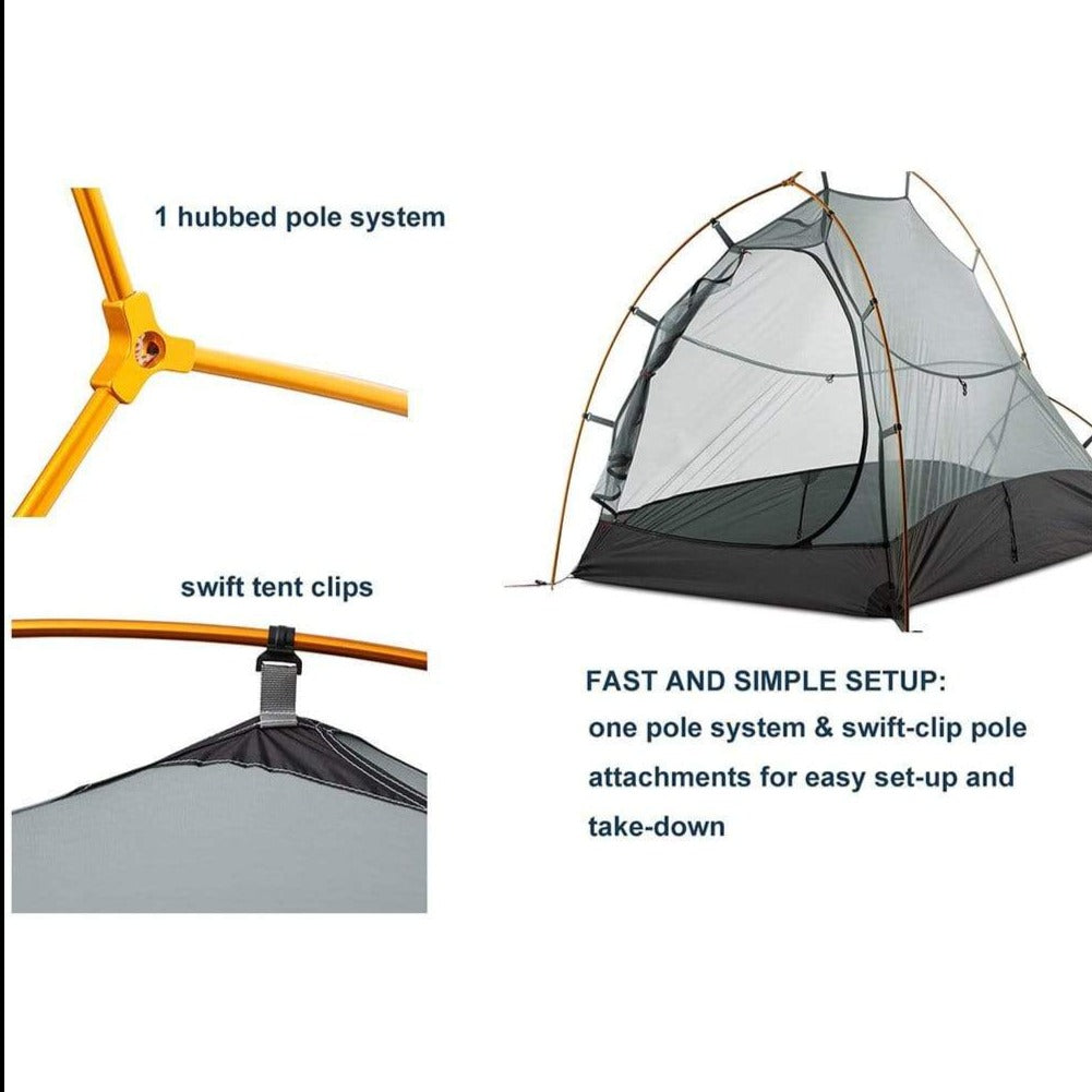 MIER Lightweight 1-Person Tent Easy Setup Outdoor Backpacking Tent, Footprint Included, Waterproof, 3 Season,4 Season tent MIER