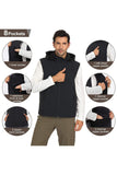MIER Men's Fleece Lined Softshell Vest Hooded Front-Zip Travel Vest with 8 Pockets, Lightweight and Windproof VEST MIER