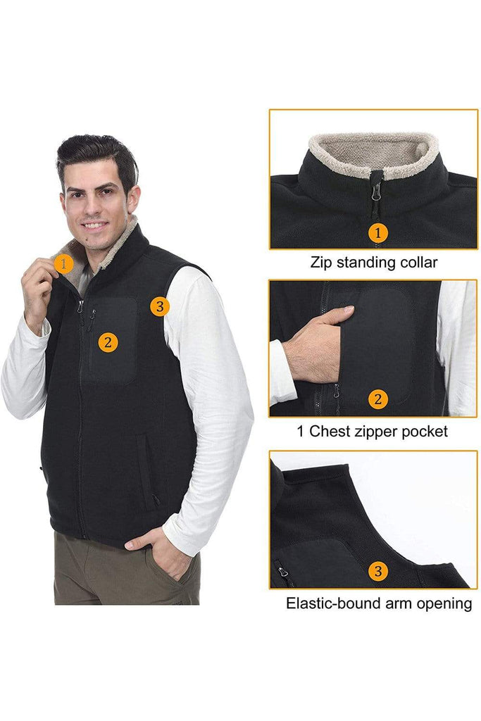 MIER Men's Full Zip Soft Polar Fleece Vest Warm Sleeveless Fleece Outerwear Jacket with 5 Pockets jackets MIER