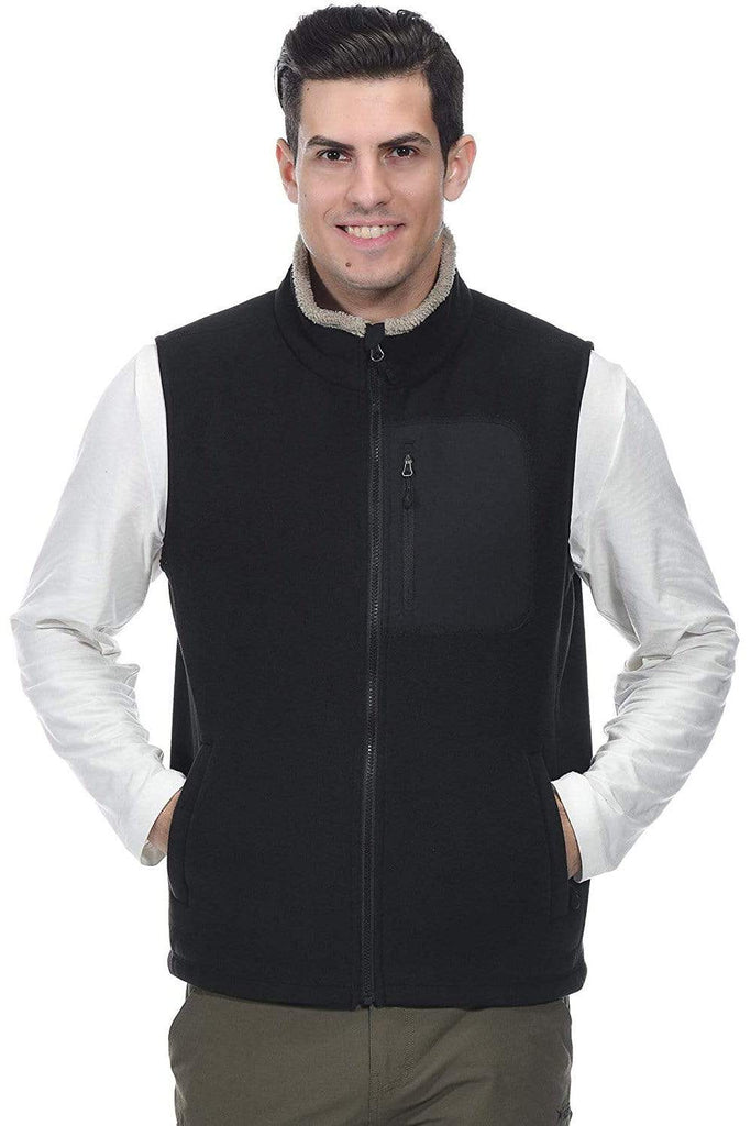 MIER Men's Full Zip Soft Polar Fleece Vest Warm Sleeveless Fleece Outerwear Jacket with 5 Pockets jackets S / BLACK MIER
