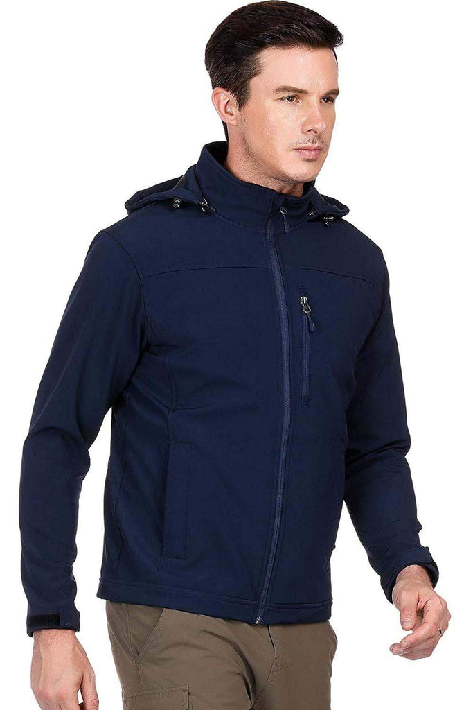 MIER Men's Hooded Softshell Jacket Fleece Lined Tactical Outerwear Jacket, Windproof, Water Resistant Jackets&Coats XXL / Navy Blue MIER