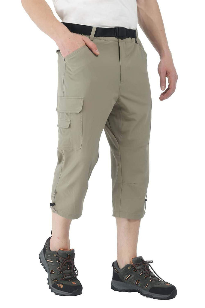 MIER Men's Quick Dry 3/4 Cargo Capri Pants Stretch Outdoor Hiking Shorts with 6 Pockets SHORTS 30 / Darkkhaki MIER