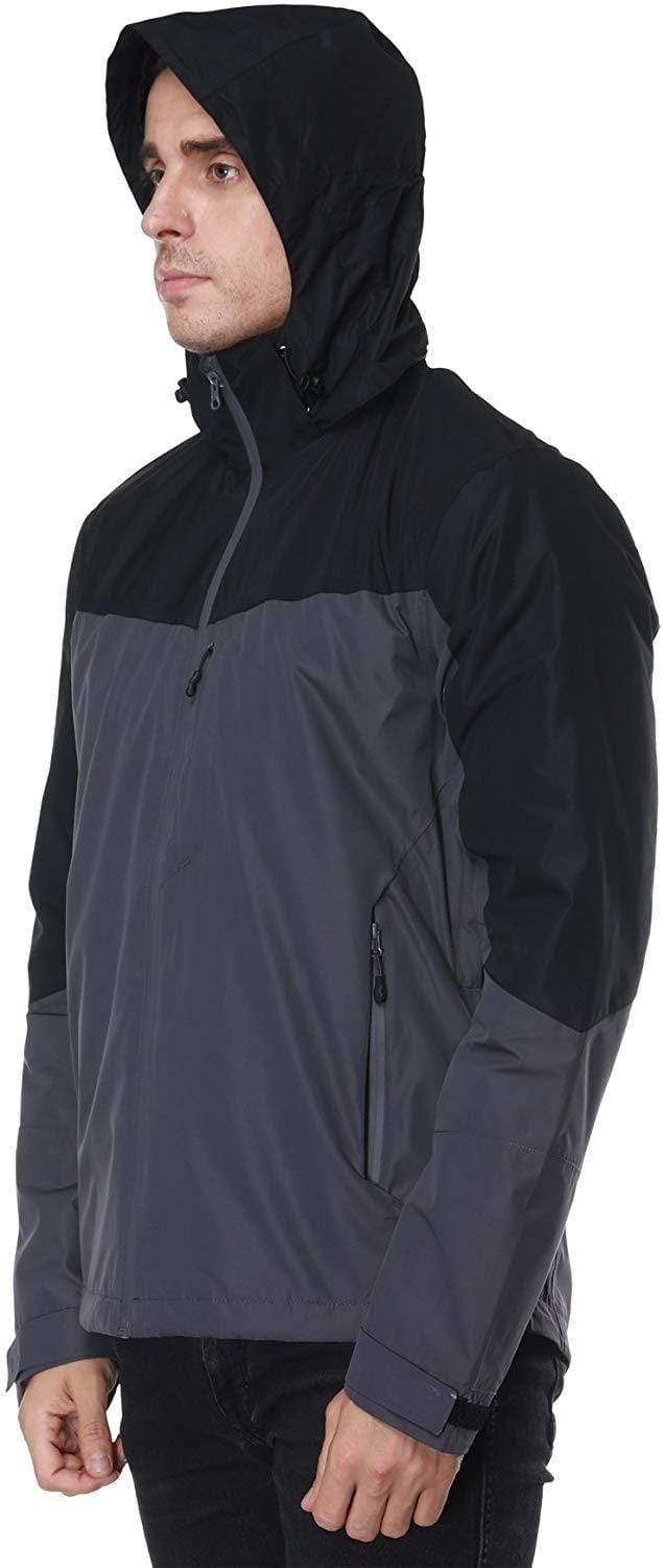 MIER Men's Rain Jackets Rain Shell with Hideaway Hood Waterproof for Outdoor, XXL