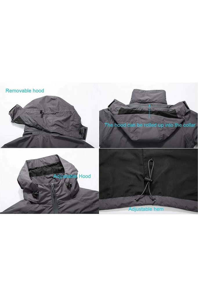MIER Men's Rain Jackets Waterproof Outdoor Jackets with Hideaway Hood, Front Zip Jackets&Coats MIER