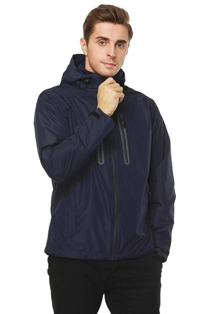 MIER Men's Rain Jackets Waterproof Outdoor Jackets with Hideaway Hood, Front Zip Jackets&Coats XXL / Blue MIER
