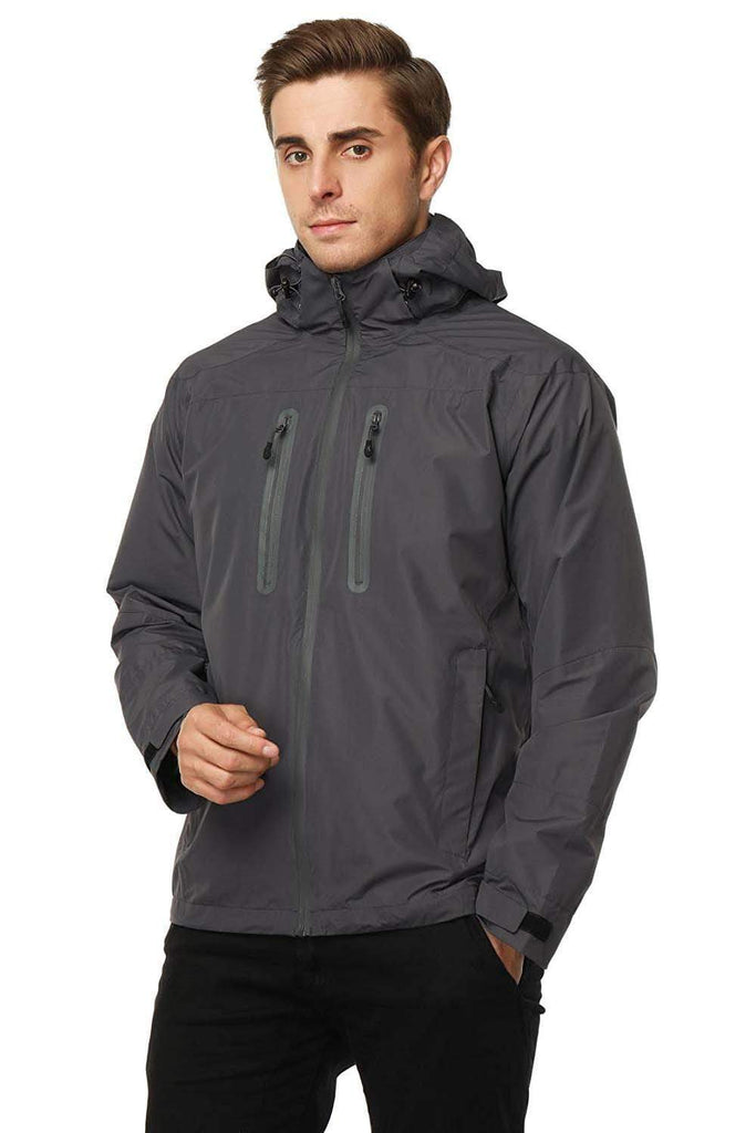 MIER Men's Rain Jackets Waterproof Outdoor Jackets with Hideaway Hood, Front Zip Jackets&Coats XXL / Dimgray MIER