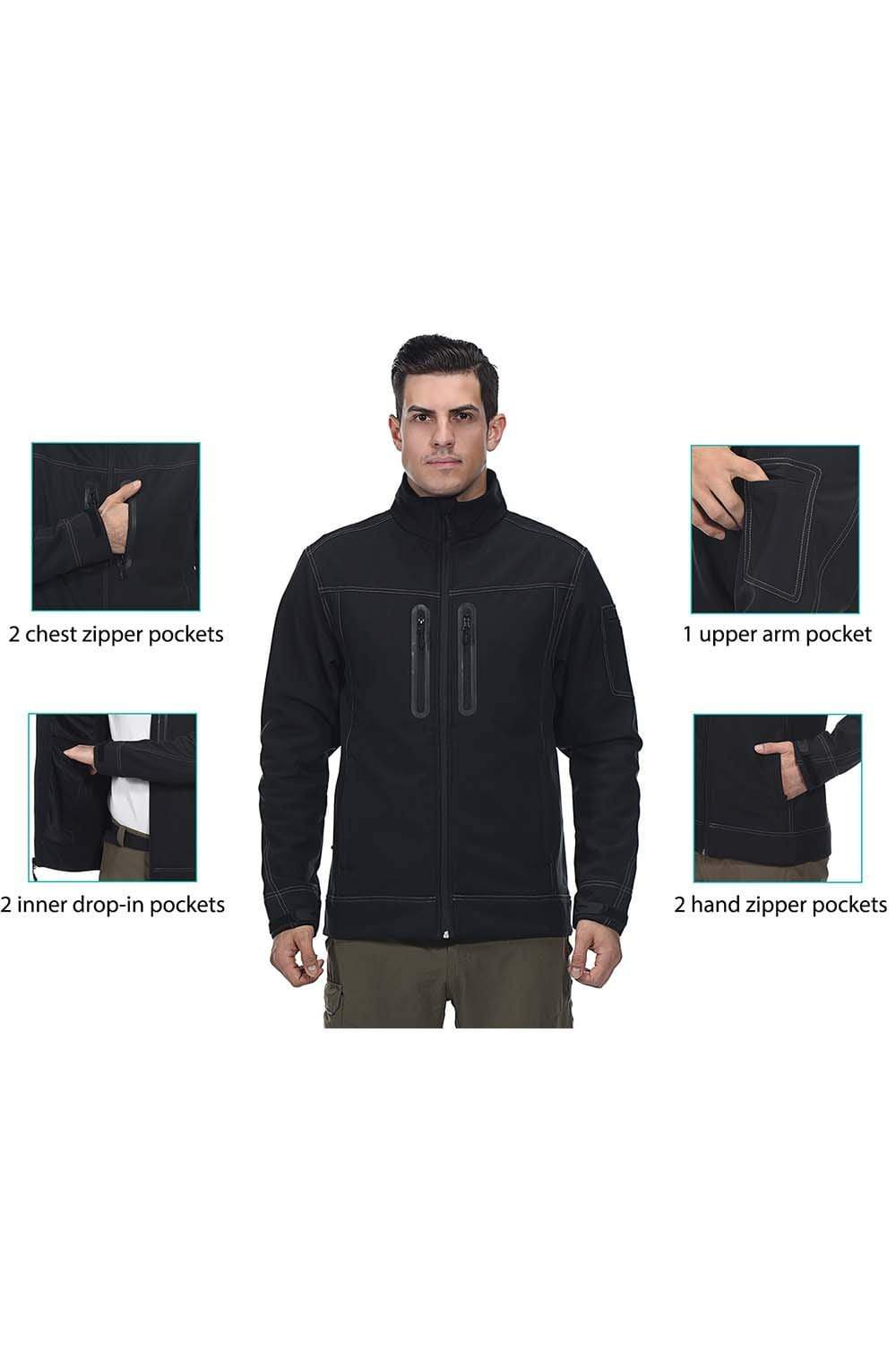 MIER Men's Softshell Jacket Outdoor Tactical Jacket with Fleece Lined, 7 Pockets