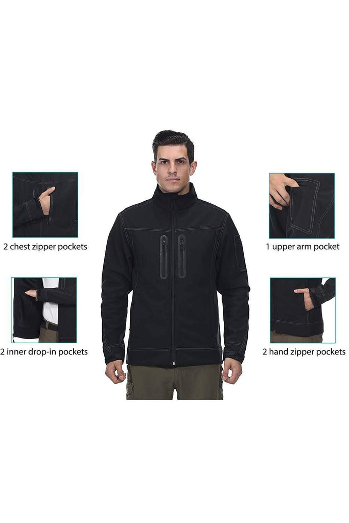 MIER Men's Softshell Jacket Outdoor Tactical Jacket with Fleece Lined, Front Zip, Water Resistant, 7 Pockets, Black Jackets&Coats MIER