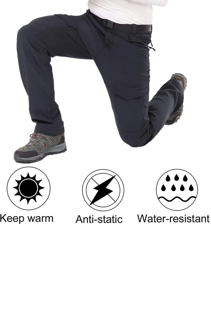 MIER Men's Warm Up Cargo Pants Insulated Softshell Hiking Pants with Fleece Lined Hiking Pants MIER