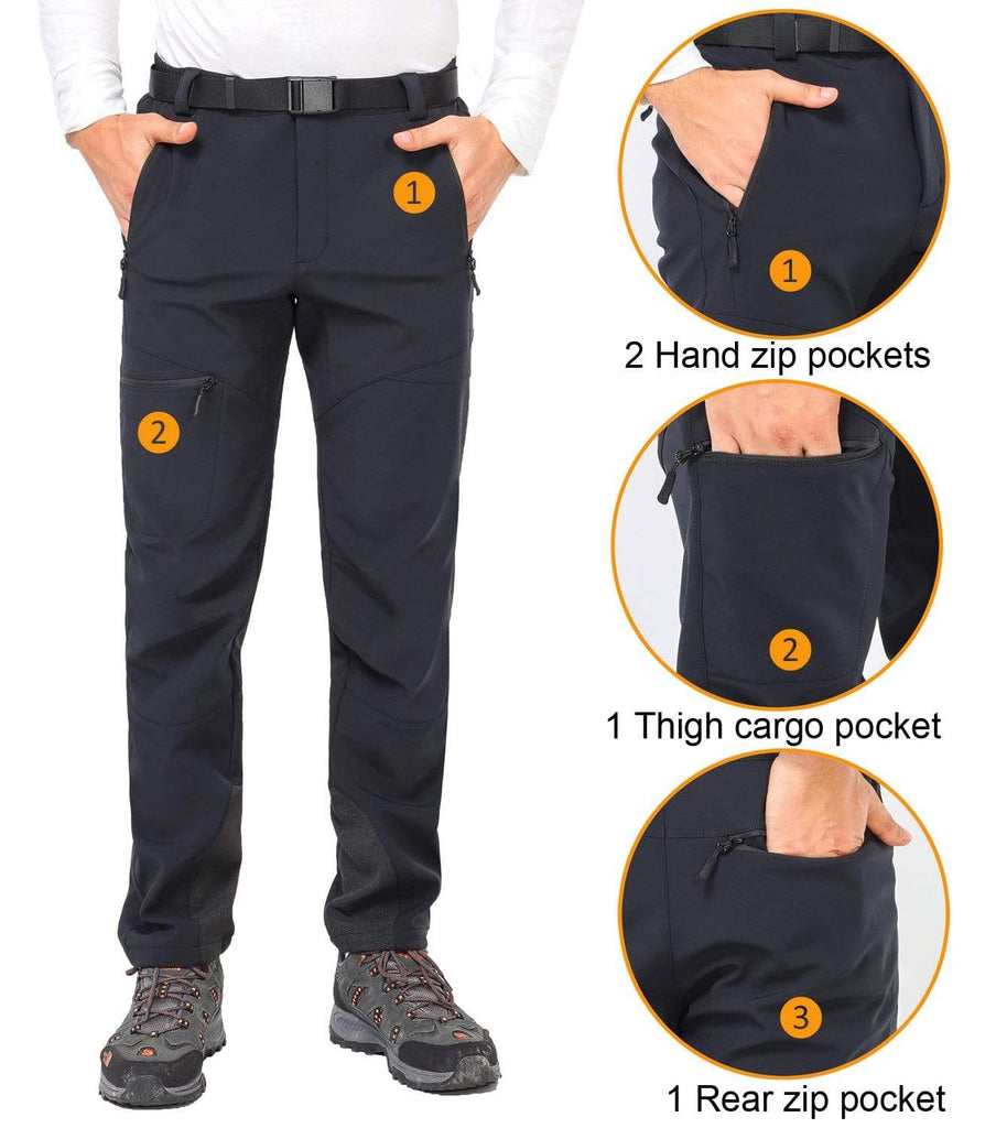 MIER Men's Winter Softshell Cargo Pants with Fleece Lining Hiking Pants, Water Resistant Men's pants MIER