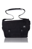 MIER Nylon Messenger Bag Men School Satchel Shoulder Bag, Multiple Pockets, Black