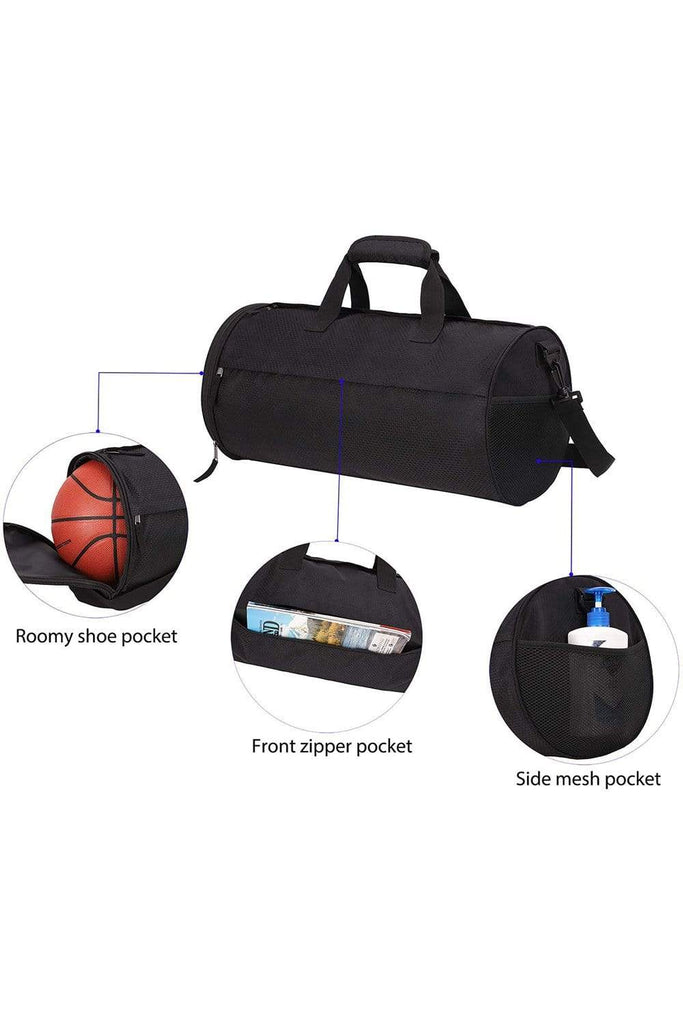 MIER Small Gym Bag for Men Women Carry On Duffel with Wet Pocket,YKK Zip, 20 Inches, Black Duffel bag/ Gym bag MIER