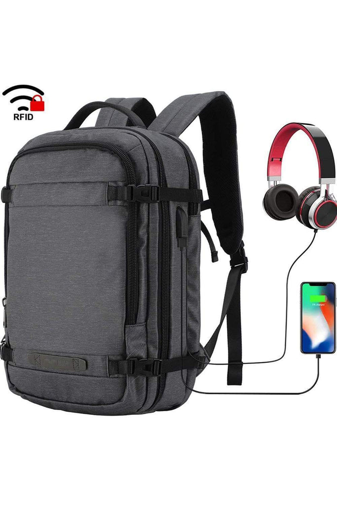 MIER Travel Backpack 17 Inches Laptop Carry On Daypack with USB Charging Port, Dark Blue Backpack Bag Dimgray MIER