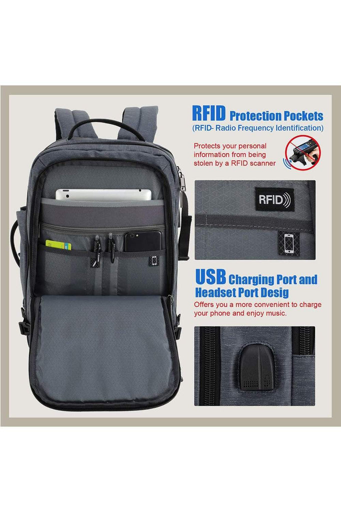 """17/"""" MAX 30L Multifunction Laptop Backpack with Headset /& USB Charging School Bag"""