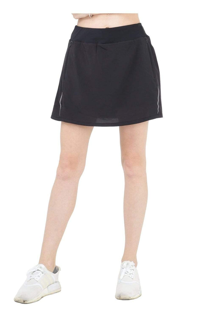 MIER Women's Athletic Skirt Sports Golf Tennis Running Skort with Elastic Waistband, 4 Pockets, Water Resistant SHORTS XS / Black MIER