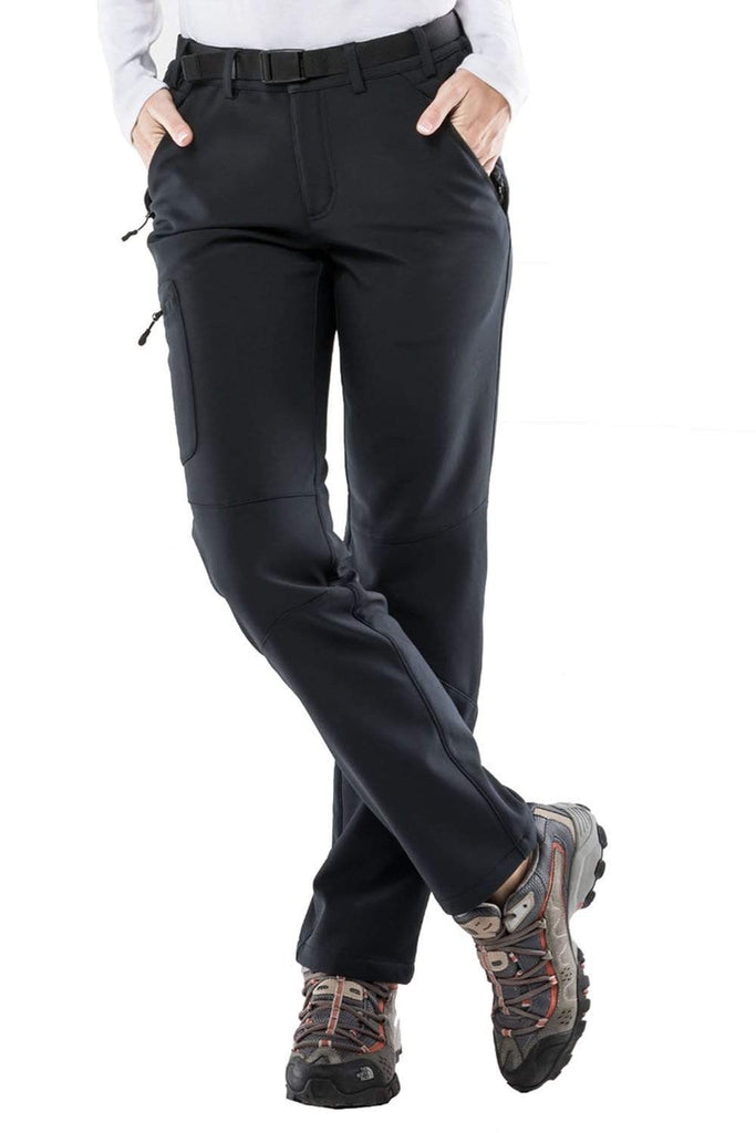 MIER Women's Fleece Lined Cargo Pants Insulated Softshell Hiking Pants with 3 Zipper Pockets Hiking Pants M / Black MIER