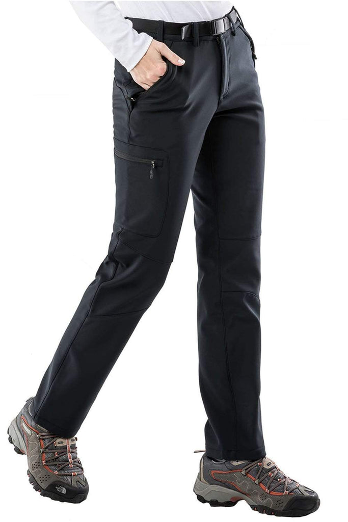 MIER Women's Fleece Lined Cargo Pants Insulated Softshell Hiking Pants with 3 Zipper Pockets Hiking Pants MIER
