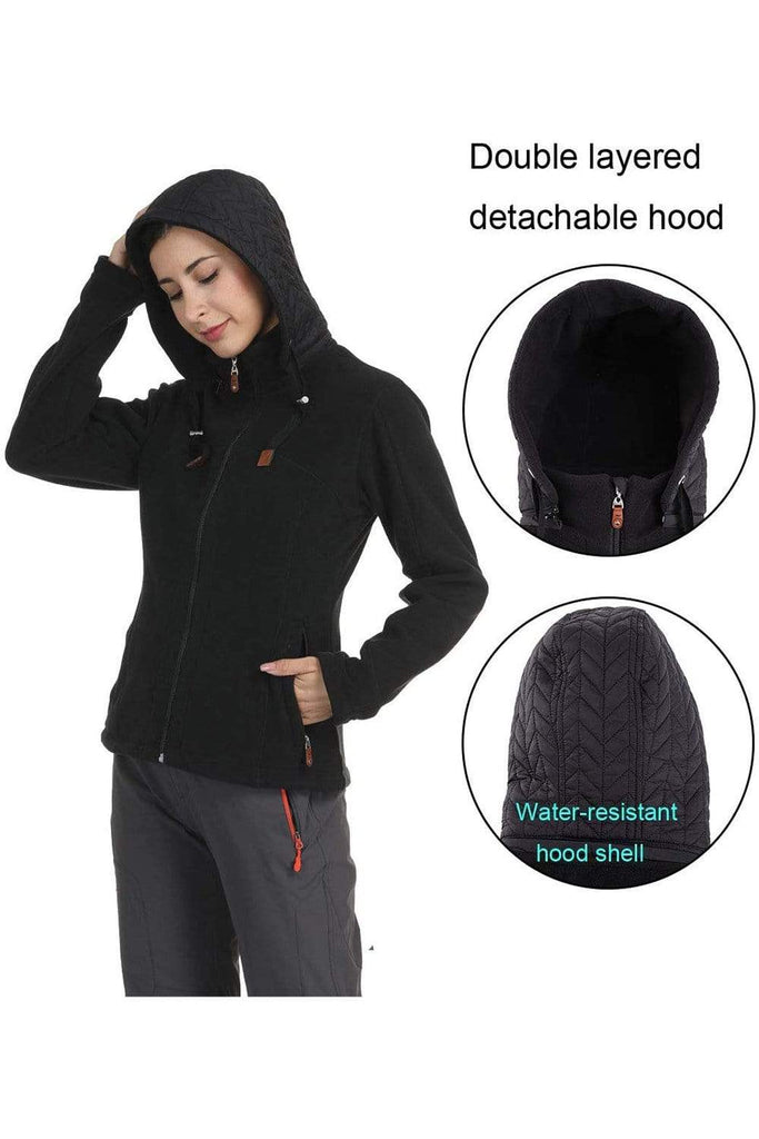 MIER Women's Heavy Fleece Jacket Full Zip Soft Micro Fleece Outerwear with Detachable Hood, No Pilling jackets MIER