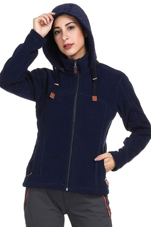 MIER Women's Heavy-Weight Polar Fleece Jacket Full Zip Thermal Outerwear with Detachable Hood jackets 8 / Navy MIER